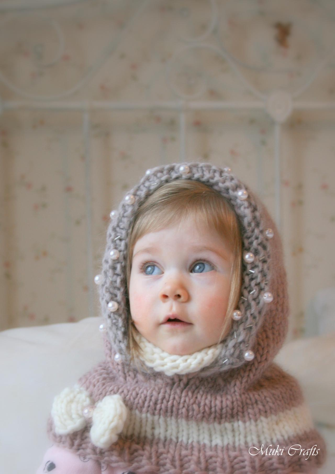 KNITTING PATTERN Hood Cowl Adele With Beads And A Bow (baby, Toddler ...