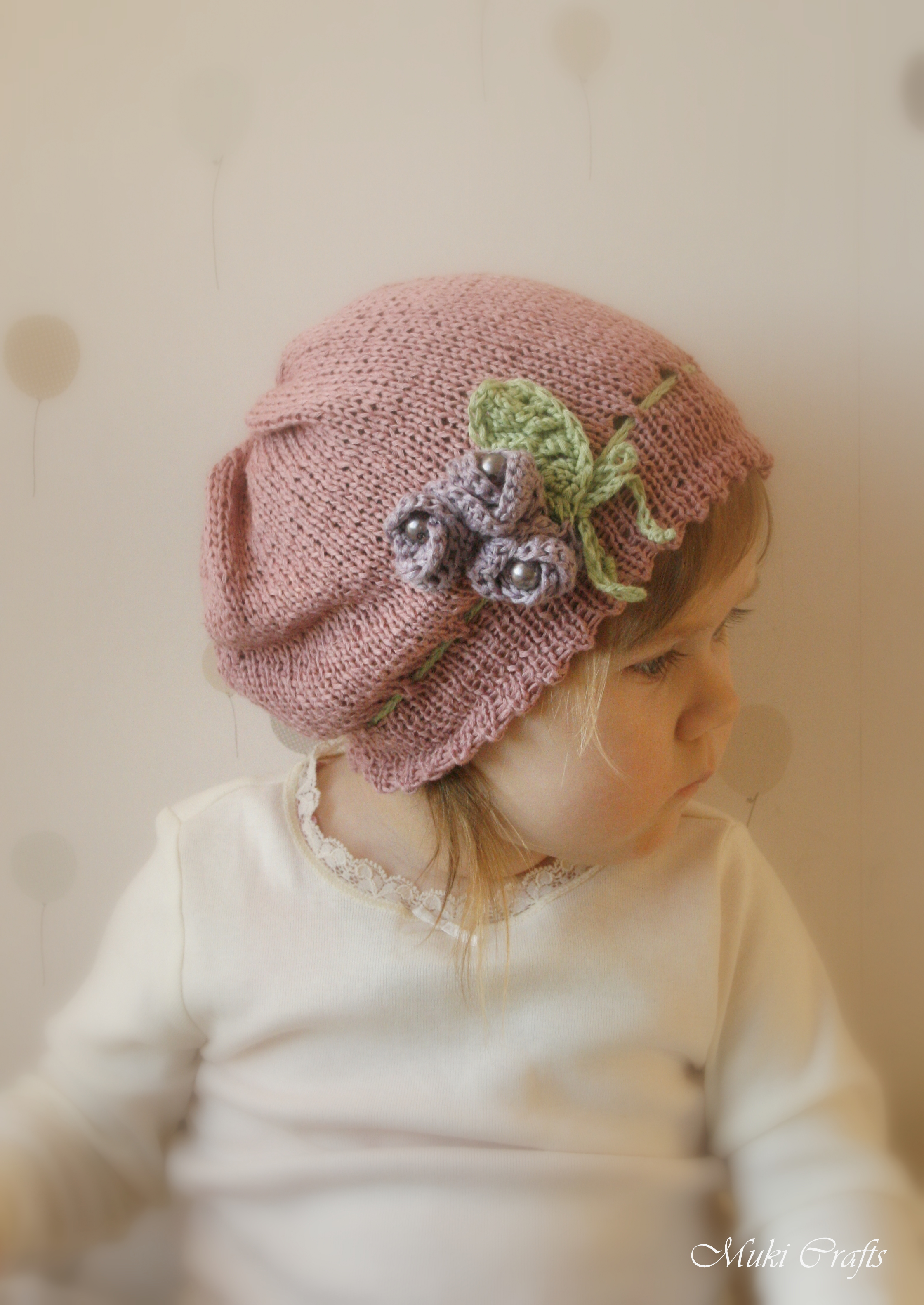 Knitting pattern slouchy flower hat hannah with crochet flowers knitting pattern slouchy flower hat hannah with crochet flowers and beads newborn baby toddler child sizes bankloansurffo Images