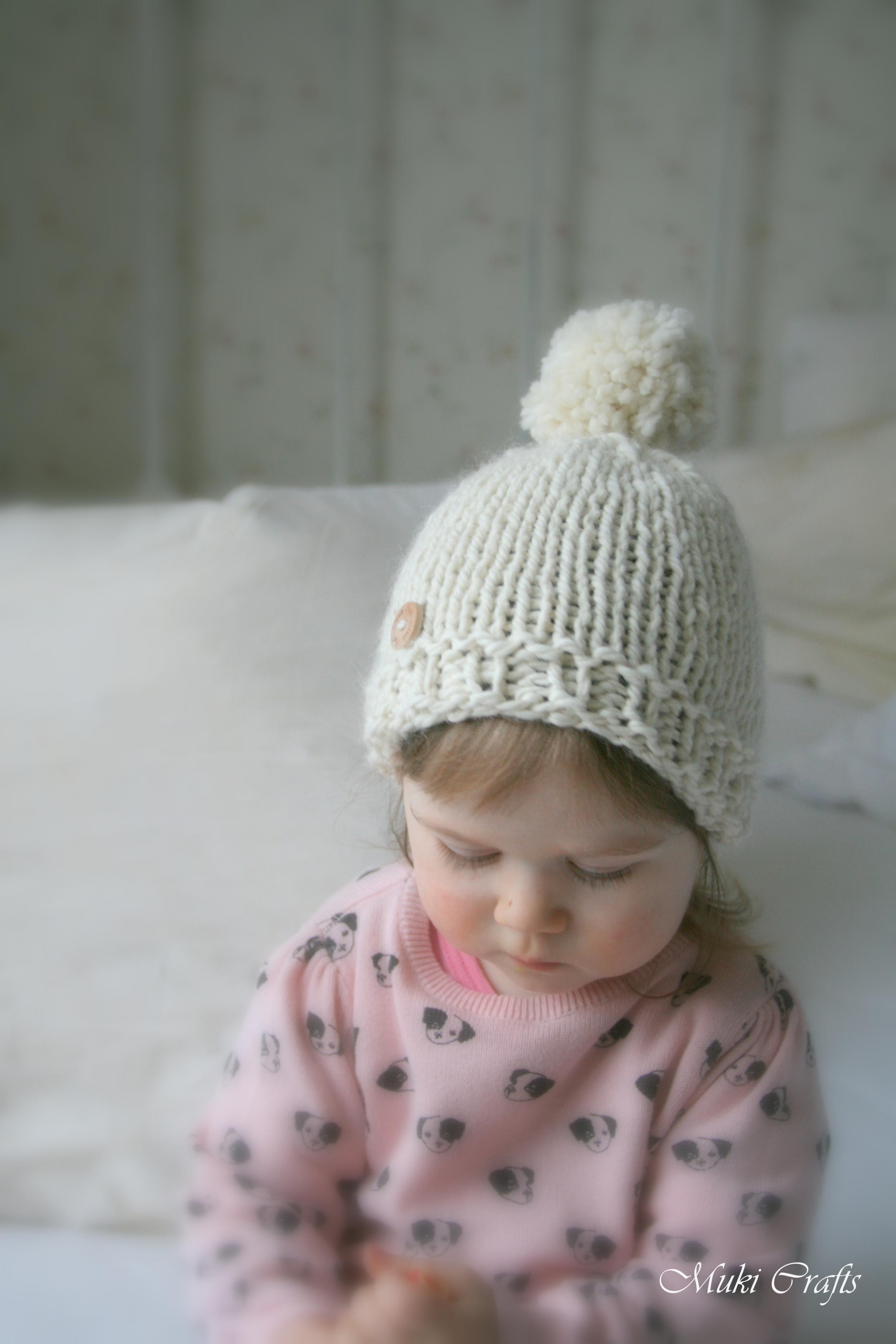 FREE SHIPPING. KNITTING PATTERN basic beanie pompom ... 22b6cad9986